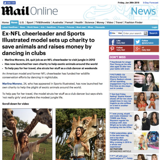 Marlina Moreno Featured in Daily Mail