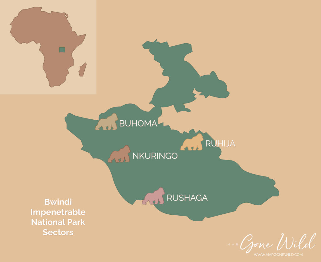 Map of Bwindi Impenetrable National Park's gorilla trekking sectors | MarGoneWild.com