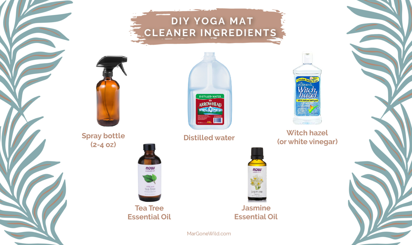 DIY yoga mat cleaner ingredients - MarGoneWild.com